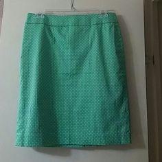 Beautiful pencil skirt green and white polka dot pencil skirt Ann Taylor Skirts Pencil