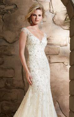 low back satin wedding dress | Bridal by Mori Lee