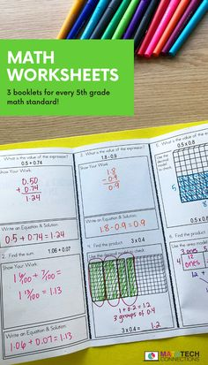 Review adding and subtracting decimals during small group instruction. Use these math booklets to review all 5th grade math standards.   #math #mathreview #mathworkshop #mathgroups #mathrotations #5thgrade #5thgrademath #decimals Math Rotations, Math 5, Math Assessment, Math Centers, Decimals Worksheets, Guided Math Groups, Adding And Subtracting Fractions, Teaching Fractions, Fifth Grade Math