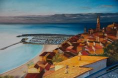 The old town of Menton at dawn.Pastel
