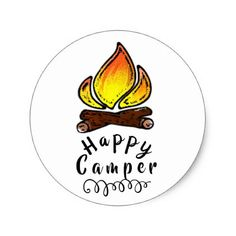 Shop Happy Camper ~ Classic Round Sticker created by DeRaen. Personalize it with photos & text or purchase as is! Outdoor Gifts, Outdoor Stickers, Happy Campers, Round Stickers, Custom Stickers, Activities For Kids, Craft Supplies, Unique Gifts, Custom Design