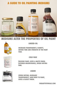 Oil Painting Mediums: Oil painting mediums can alter the consistency and finish of your paint. Discover what each medium is used for and the results you can achieve by using them. Oil Painting Materials, Oil Painting Supplies, Oil Painting Tips, Oil Painting Techniques, Painting Studio, Oil Paint Medium, Art Studio Room, Oil Portrait, Learn Art