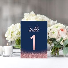 """1-30 Blush Navy Table Numbers Navy Wedding Decor Printable Table Numbers Rose Gold Navy Blue Wedding Table Signs DIGITAL DOWNLOAD 5x7"""""""