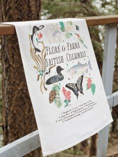 Vintage style cotton tea Towel - British Columbia Canada celebrates the local BC flora and fauna with beautiful illustrations and a legend depicting the names of each. Flora And Fauna, Native Plants, British Columbia, Beautiful World, Tea Towels, Art Work, Vintage Style, Prints, Canada