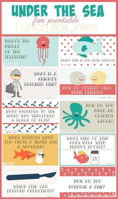 Surprise your little with these Under the Sea free Printable Lunch box jokes!  Capturing-Joy.com