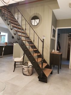 Rénovation escalier métal bois Decoration, Stairs, Home Decor, Diy Ideas For Home, Woodwind Instrument, Decor, Stairway, Decoration Home, Staircases