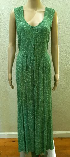 April Cornell India Rayon Crepe Green Floral Calico Ditsy Prairie Empire Long Maxi Dress One Size by BohoTresChic on Etsy