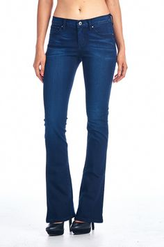 Basic skinny boot cut jeans Color- Dark Blue