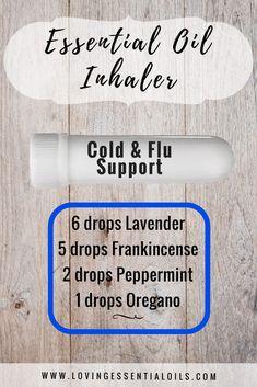 Essential oil inhaler recipe - Cold & Flu support with lavender, frankincense, peppermint, oregano essential oil by Loving Essential Oils
