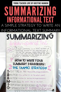 Do your students need help summarizing informational text? Use the TAAMIO strategy to write great informational text summaries. Summarizing Anchor Chart, Summary Anchor Chart, 5th Grade Writing, 6th Grade Ela, Sixth Grade, Summary Writing, Paragraph Writing, Writing Strategies, Informational Writing