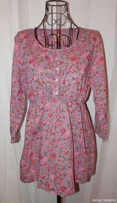 APRIL CORNELL TOP XS Pink Purple Floral Romantic Ruffle 3/4 Sleeve Scoop Neck #AprilCornell #Blouse #Casual