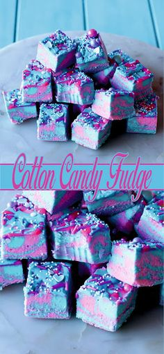 Most Amazing Cotton Candy Fudge Dirt Pudding Recipes, Fudge Recipes, Candy Recipes, Dessert Recipes, Cotton Candy Fudge, Cotton Candy Party, Candy Theme Birthday Party, Birthday Treats, Easter Appetizers