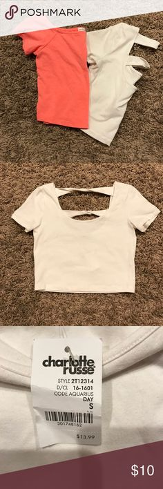Charlotte Russe crop tops Selling both together - 2 crop tops. Orange/Pink one was worn one and the white one is still new with tags Charlotte Russe Tops Crop Tops