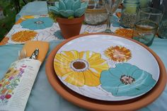 GARDEN PARTY -  terra cotta saucers as chargers, seed packets as utensil holders  nest full of eggs: summer 11 ideas house