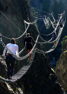 The Tibetan Bridge in Claviere, Piedmont, Italy: Experience the thrill of walking the longest Tibetan Bridge in the world suspended for 468 meters between the towns of Claviere & Cesana Torinese over the San Gervasio Gorge in Italy. Discover the adventure of the Vie Ferrate, the Tyrolean traverses & the climbing routes.: