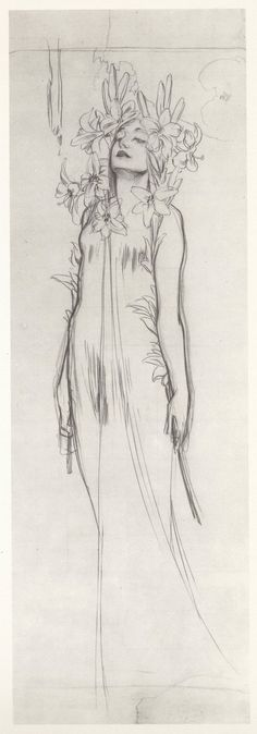 Woman with Lilies, charcoal  by Alphonse Mucha. c. 1902
