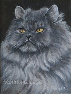 Feline Art Cats Persian Cat Acrylic by Della Burgus, painting by artist Art Helping Animals
