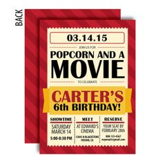 Movie Party Invitation A Printable By GraphicDesignbyBecky, $16.50