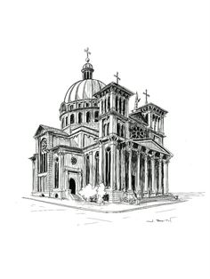 Time lapse sketch of a stunning basilica in Milwaukee, WI Architecture Drawing Sketchbooks, Architecture Concept Drawings, Art And Architecture, Architecture Journal, Building Drawing, Building Sketch, Perspective Art, Digital Art Tutorial, Renaissance Architecture