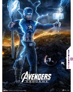 Captain America with Stormbreaker and Mjolnir
