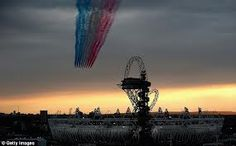 Red arrows over the Olympic Park, London