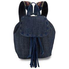 Steve Madden Justice Fringed Backpack ($88) ❤ liked on Polyvore featuring bags, backpacks, denim, fringe bags, shoulder strap bags, guitar backpack, steve madden and blue bag