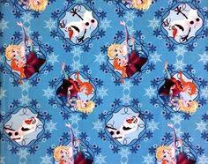 Disney Pixar Frozen Elsa Anna Olaf Ice Skating Cotton Quilt Fabric By Yard Craft #SpringsCreative