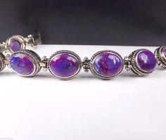 Purple Turquoise Sterling Silver 925 Link Bracelet Designer Signed Mohave Stone #NK #Link