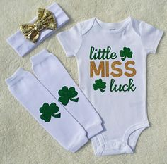 St Patricks Day Baby Girl Outfit, Baby Girl Coming Home Outfit, St Patricks Headband, Baby Leg Warmers, Little Miss Luck, © Liv & Co.™