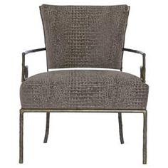 Kiefer Hollywood Regency Grey Alligator Fabric Metal Armchair | Kathy Kuo Home