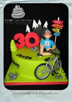 Amor com Farinha Bolos decorados Bicycle Cake, Bike Cakes, Birthday Cakes For Men, Cakes For Boys, Ballarina Cake, Mountain Bike Cake, Rock Climbing Cake, Bolo Neon, Puppy Cake