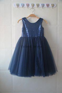 Navy Blue Sequin Tulle Flower Girl Dress Wedding Baby Girls Dress Rustic Baby Birthday Dress Knee Length by Valiantwang on Etsy https://www.etsy.com/au/listing/446528938/navy-blue-sequin-tulle-flower-girl-dress