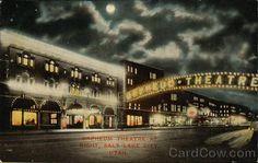 vintage postcard, Orpheum Theatre at Night, Salt Lake City, Utah