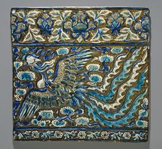 Tile with an image of a phoenix, Ilkhanid period late century Iran, probably Takht–i Sulaiman Stonepaste; modeled, underglaze painted in blue and turquoise, luster painted on opaque white ground. Islamic Tiles, Islamic Art, Museum Of Fine Arts, Art Museum, Mythical Birds, Mythical Creatures, Teheran, Ceramic Tile Art, Groomsmen