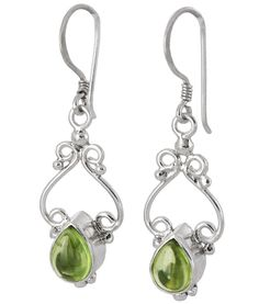 Simple semi-precious peridot stones and sterling silver settings make our earrings great accents to colorful outfits as well as earthy ensembles.  Each pair of earrings is handmade in Nepal at Kumbeshwar Technical School.