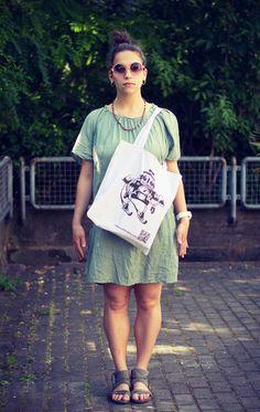 """Stofftasche """"Roboter"""" von Granatapfel - Onlineshop mit Illustriertem. auf DaWanda.com"""