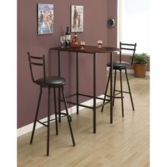 Shop for Cappuccino/ Black Metal Space-saver Bar Table. Get free delivery On EVERYTHING* Overstock - Your Online Furniture Shop! Get in rewards with Club O! Bar Table Diy, Bar Table Design, Pub Table Sets, Bar Tables, High Table And Chairs, High Top Tables, Bar Chairs, Bar Stools, Breakfast Bar Table