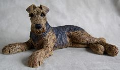 Airedale commission - stoneware with oxide glaze