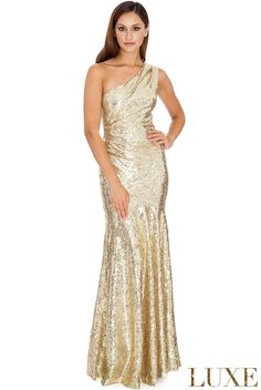 381e3e701104 One Shoulder Sequin Sheath Maxi in the Style of Vanessa Williams. Evening  DressesProm DressesFormal DressesStrapless ...
