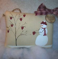Primitive VALENTINE Winter Snowman & Heart Tree Wallhanging Pillow Handpainted
