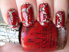 Sally Hansen appliques in the Cut It Out design +OPI Red Shatter