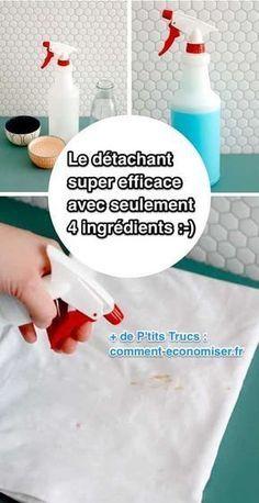 Voici la recette qui ne contient que 4 ingrédients. J'espère que vous l'aimerez autant que moi :-) Découvrez l'astuce ici : http://www.comment-economiser.fr/puissant-et-efficace-le-detachant-maison-avec-4-ingredients.html?utm_content=buffer980d2&utm_medium=social&utm_source=pinterest.com&utm_campaign=buffer