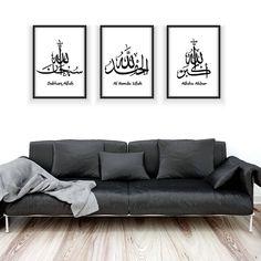Buy Modern Arabic Calligraphy Zikr Zikrullah Black&White Islamic Prints Posters Islamic Wall Art Pictures for Living Room Home Decor Worldwide Free Shipping #artprintwall #artprintmodern #artprintset #artprintdiy