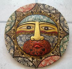Indonesian Art, Celestial Bali Sun Face Mask, Hand Painted Wooden Wall Decor. $35.00, via Etsy.