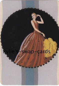 R69 LOVELY ART DECO STYLE LADY swap playing cards MINT COND with fan LINEN