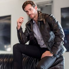 Mens Fashion Suits, Denim Fashion, Leather Fashion, Dimitri, Mens Leather Pants, Leather Jackets, Rugged Men, Slim Fit Jackets, Types Of Jackets
