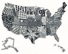 United States Map Zentangle ArtCool, would be great project for geography class