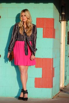 navy pattern blouse + bright pink skirt