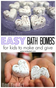 Bath Bomb Recipe - Gifts Kids Can Make! Homemade Bath Bombs are one of our favourite gifts to make and give for kids. This DIY Bath Bomb recipe is quick and easy and makes a great Christmas gift for mum, grandparents and teachers. Learn how to make Bath Bombs today! This recipe contains no Citric Acid but uses store cupboard staples.