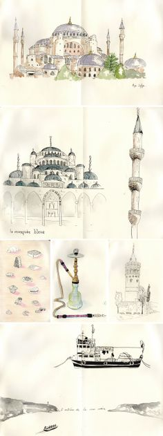 sketches of Istanbul, Turkey, by Faustine Clavert. Aya Sofia, the blue mosque, the bosphorus and the Turkish lifestyle. Travel Sketchbook, Art Sketchbook, Byzantine Architecture, Watercolor Architecture, Turkish Art, Sewing Art, Watercolor Sketch, Urban Sketching, Map Art